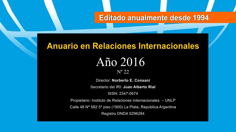 Anuario en Relaciones Internacionales 2016